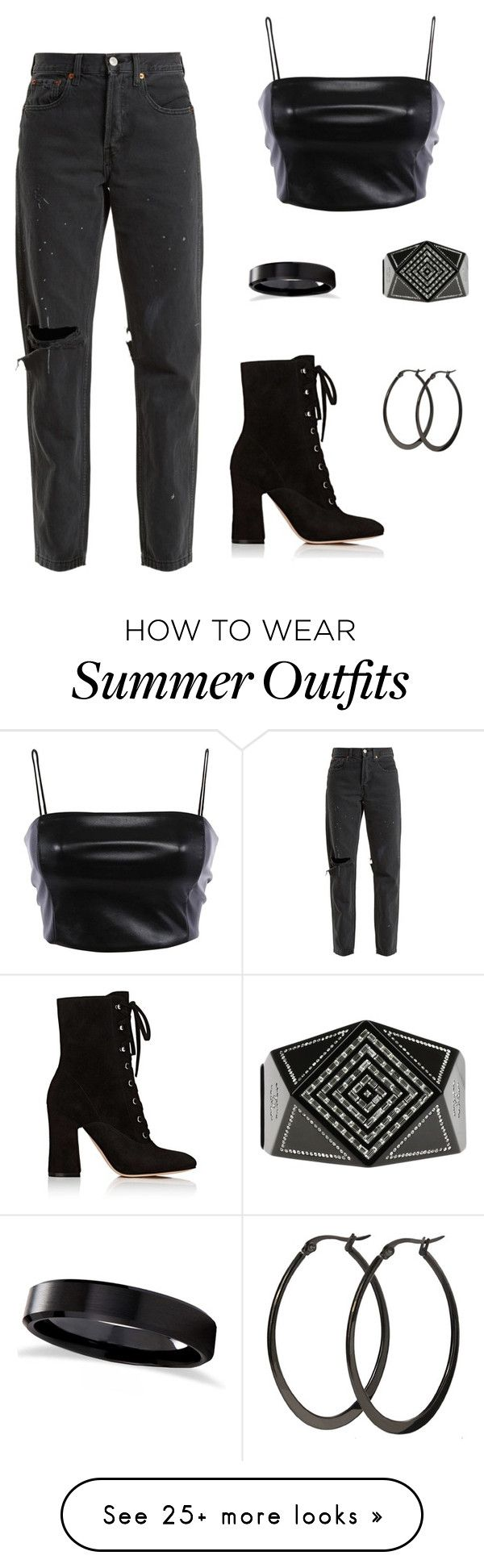 """"""""""" by taylorharvey09 on Polyvore featuring RE/DONE, Gianvito Rossi, Allurez, Chanel and allblackoutfit"""