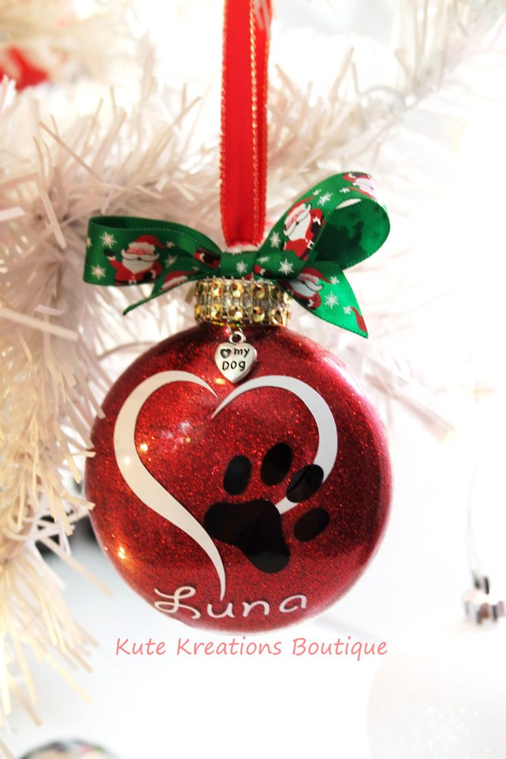 Heart/Paw Print Ornament/Personalized Ornaments/Pet Name/Paw Print Christmas Ornament/I Love My Dog/Cat