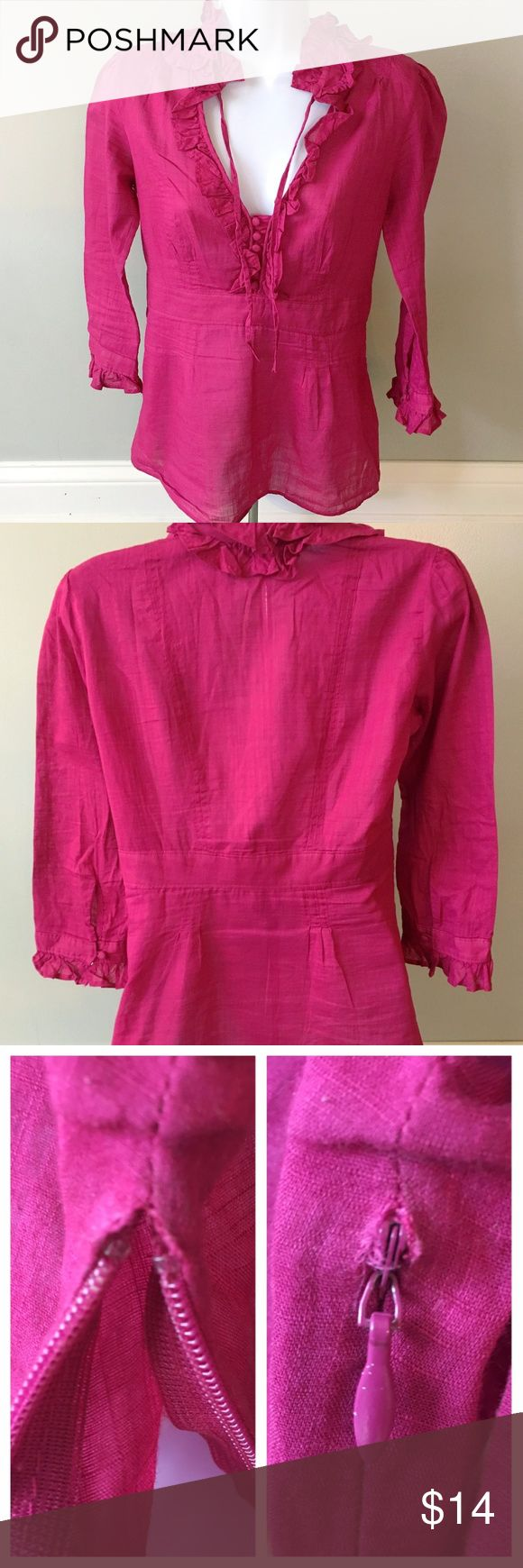 JCrew Size 2 XS EUC Fuchsia Pink Linen Ruffle Top J. Crew 3/4 sleeve fuchsia / hot pink linen ruffle top! Side zipper for easy in/out. Classic J. Crew texture: ruffles, mini buttons, tie.  Outfit ideas: skinnies & flats, bright contrasting pencil skirt (neon yellow works great!) w/heels, layered under a blazer for work, or w/cutoffs for the summer.  Condition: 9/10. Barely visible fray at zipper top under left armpit (pictured). No stains, fading, pilling, holes, rips, tears, or loose…