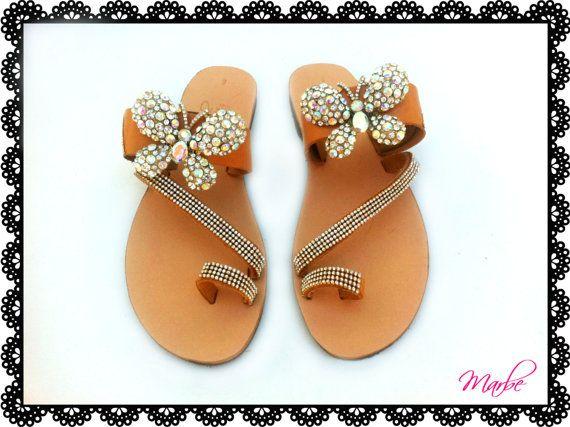 Wedding Greek handmade  leather sandal by MarbeUniqueHandcraft