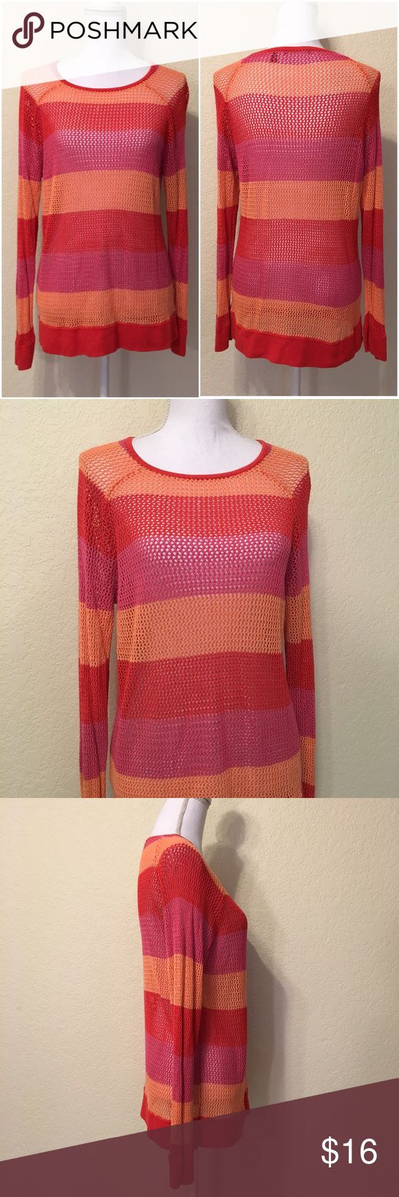 """525 America Coral Combo Knit Sweater 525 America Coral Combo Knit Sweater.  Size XL.  Excellent like-new condition.  Ribbed cuffs and trim.  Side hook & zipper.  Length shoulder to hem: 28"""".  Bust: 40"""".  Waist: 38.  Bottom of sweater: 40"""" around.  Sleeve length: 25"""".  Cuff width: 4"""".  100% rayon.  Machine wash cold. 525 America Sweaters Crew & Scoop Necks"""