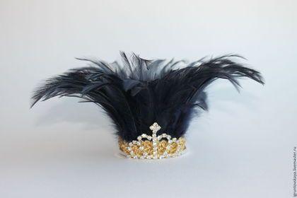 """Купить Корона из перьев """"Fashion"""" - темно-синий, однотонный, корона для принцессы, корона для фотосессии"""