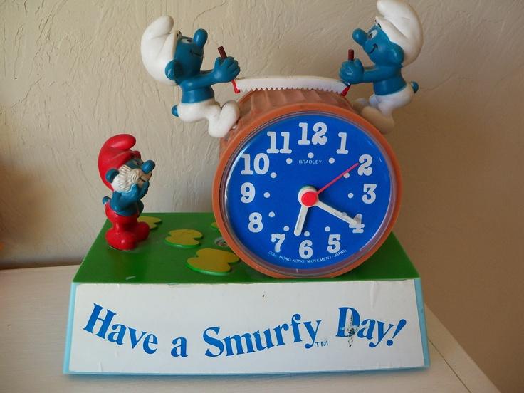I used to have this clock! Wish I still did  Smurf Talking Clock - Talking Alarm Clock -Wind Up Clock with Talking Alarm- Vintage Smurfs. $50.00, via Etsy.