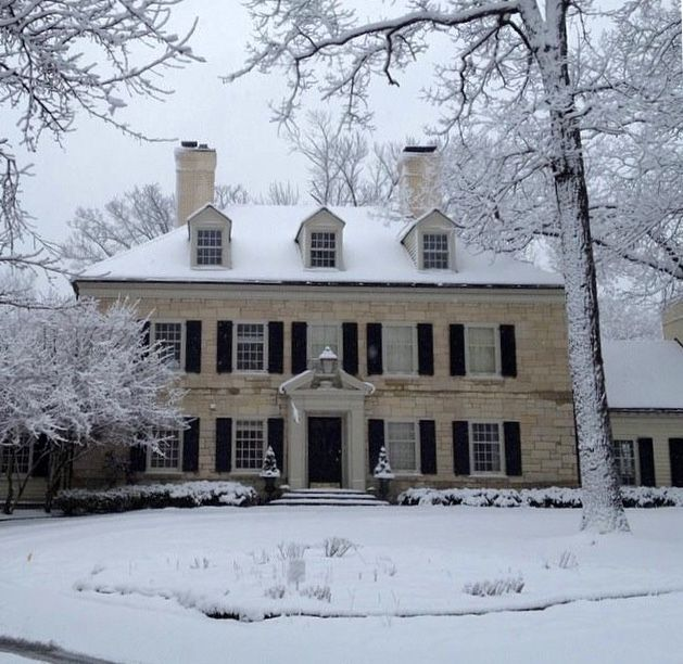 STUNNING stone Georgian revival style home in Lake Forest, Illinois.