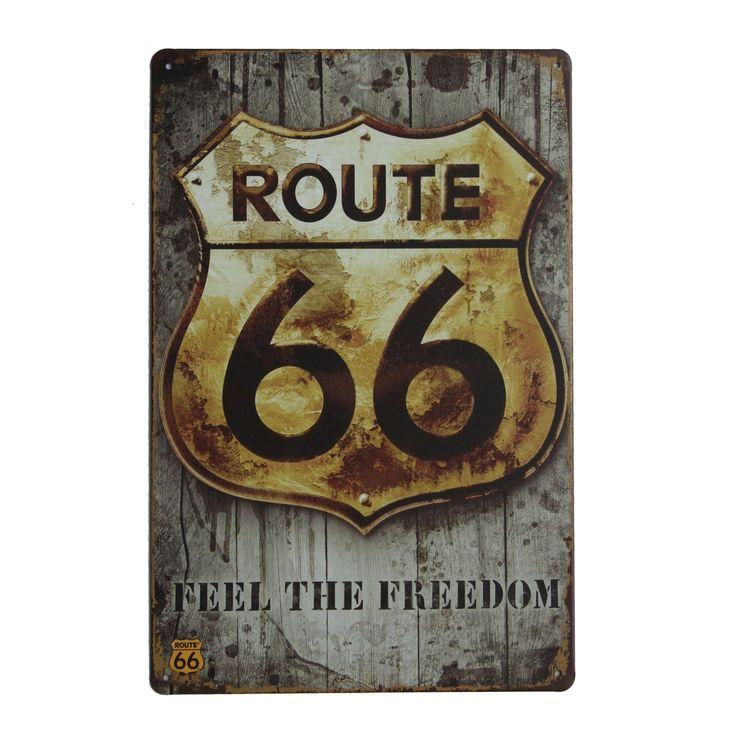 Tableau vintage imprimé sur métal ROUTE 66 FREEDOM 20x30 (Plaques Rétro en métal) - Chaises de design, tables de design, meubles de design, Modern classic, design contemporains...