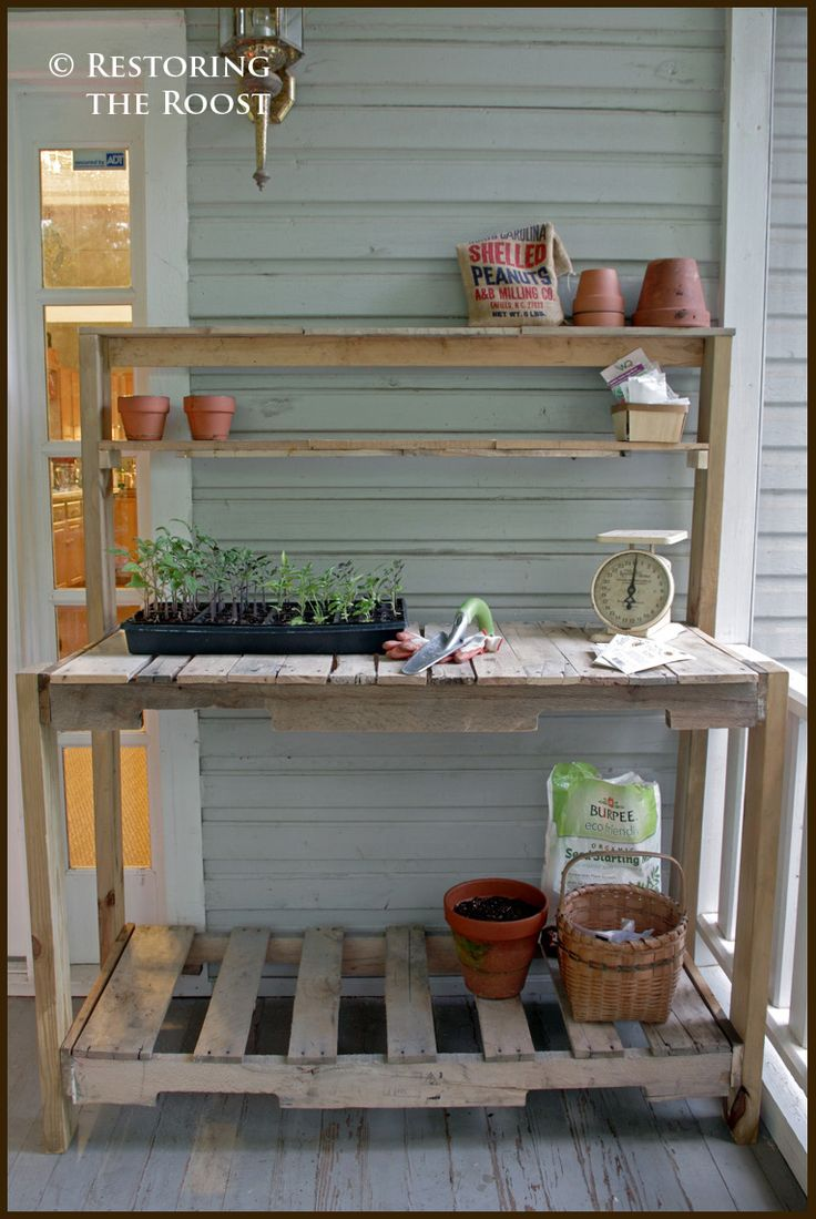 best 25 pallet potting bench ideas on pinterest garden work benches garden ideas using. Black Bedroom Furniture Sets. Home Design Ideas