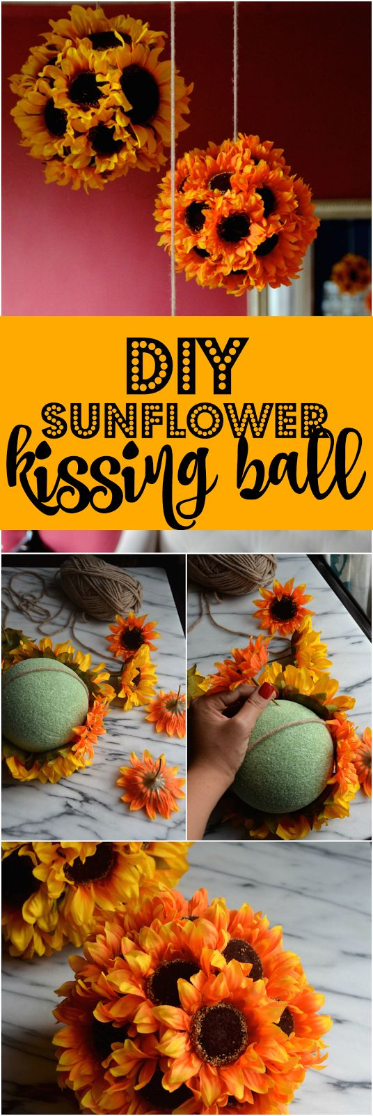 Use silk sunflowers and a styrofoam base to create a simple, bright, and festive Fall-themed decoration perfect for hanging above a dining or buffet table.