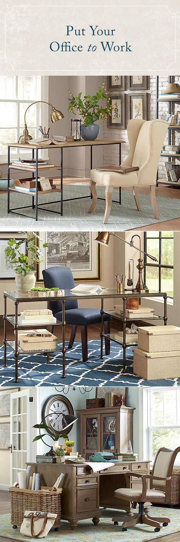 """There's a reason no one's ever coined the phrase """"cubicle-chic."""" For a home office that really works, create a dedicated area that you can fill with functional (and stylish!) furniture. Desks that multitask as writing and storage spaces are key, and a comfy chair is a reward in itself when you're working long hours. Shop these home office necessities and more at Birch Lane."""