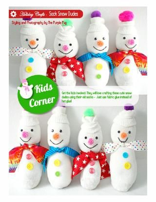"""What a CUTE winter craft for kids!! :) ... """"Sock Snow Dudes"""" - Found on Pages 121-122."""