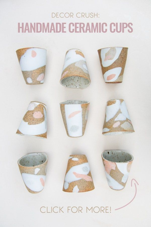 These handmade ceramic cups are beautiful! I want all of them in my kitchen!