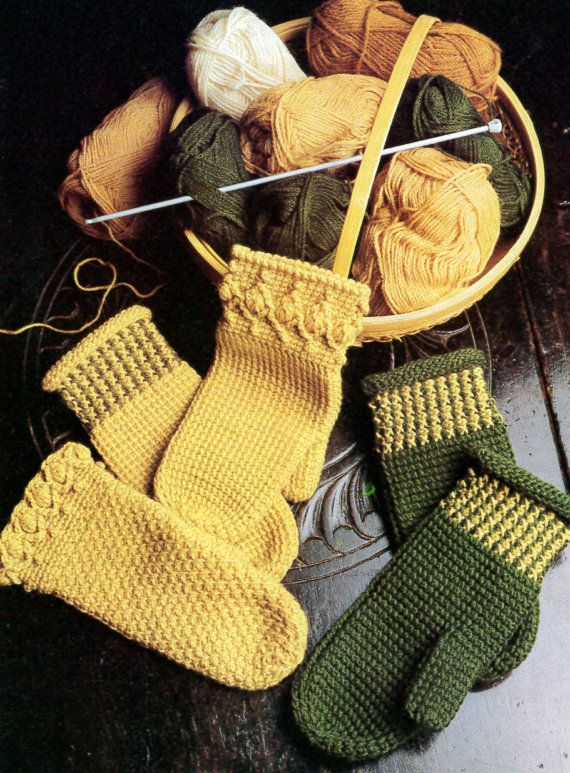 This is a vintage intermediate crochet pattern for three different (yet relatively simple) Tunisian crochet mittens for adults. Originally printed