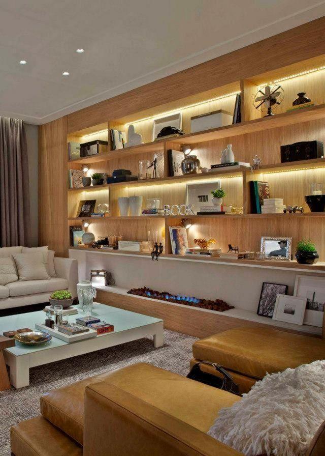 une biblioth que clair e la lumi re led estar pinterest lumiere led marie claire. Black Bedroom Furniture Sets. Home Design Ideas