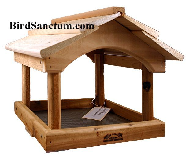wood bird feeder plans | Cedar Wood Fly-Thru Bird Feeder - Small - wood bird feeders