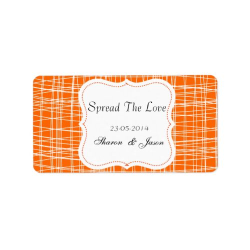 """A fabulous idea for wedding favors, little pots of jam or honey add these stylish little labels in orange and white pattern """"Spread The Love"""" personalized with your wedding date and initials or names. #wedding #favors #jam #labels #spread #the #love #canning #labels #wedding #diy #wedding #favors #personalized #wedding #favors #patterned #stylish #orange #jar #labels #weddings #wedding #stickers #favors #personalized #names #initials #monograms #white #pattern #tangerine"""