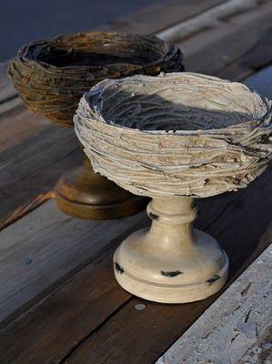nest on a candlestick DIY