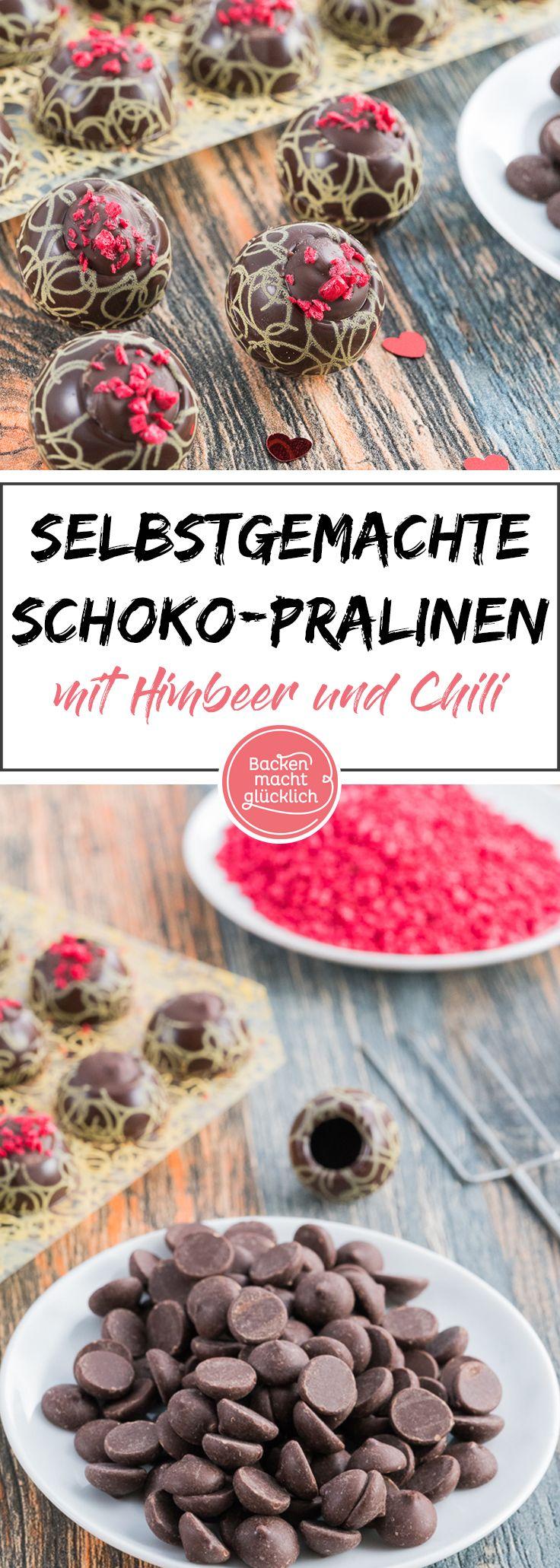 Tolles Rezept für selbst gemachte Pralinen. Die Schoko-Himbeer-Pralinen sind auch für Anfänger gut geeignet.