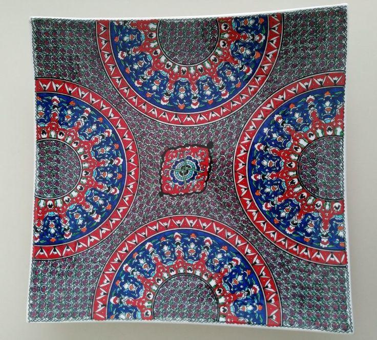 SQUARE OTTOMAN STYLE TURKISH CERAMIC PLATE, 40 cm, 002
