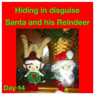 Elf on the shelf ideas Hiding in disguise Santa and his reindeer Elf costume