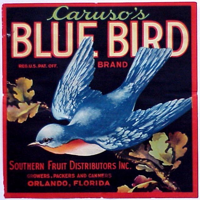 Vintage Blue Bird crate label