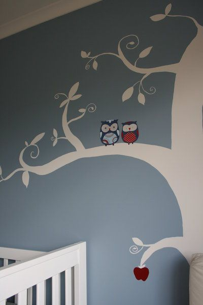 Love the white tree, owls and colors!