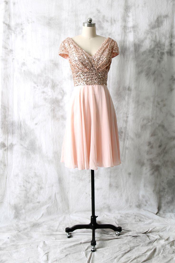 Cocktail dress rose gold sequin chiffon bridesmaid dress for Gold sequin wedding dress