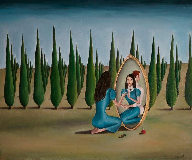 Viola Vistosu, Toeletta allo specchio-Olio su tavola (Oil on wood) 2013