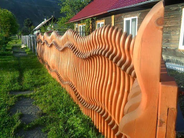 Деревянный профиль волновой забор.
