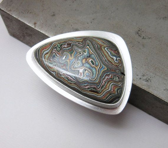 Fordite Ring Sterling Silver Ring Geekery by TonyaMcMillanJewelry