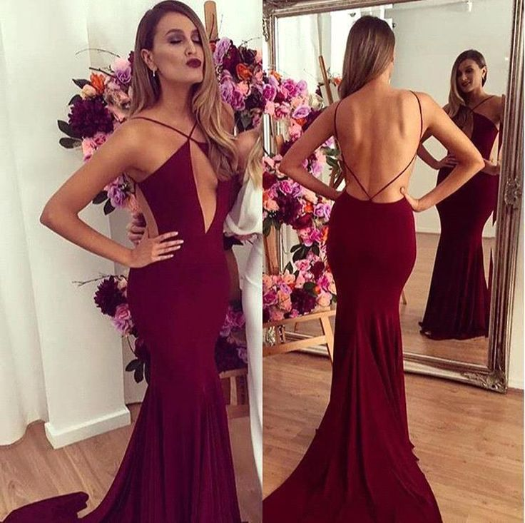 Hot Sexy Burgundy Mermaid Prom Dresses 2016 Sexy Backless Celebrity Gowns Spaghetti Straps Long Mermaid Evening Gowns Vestido de Festa