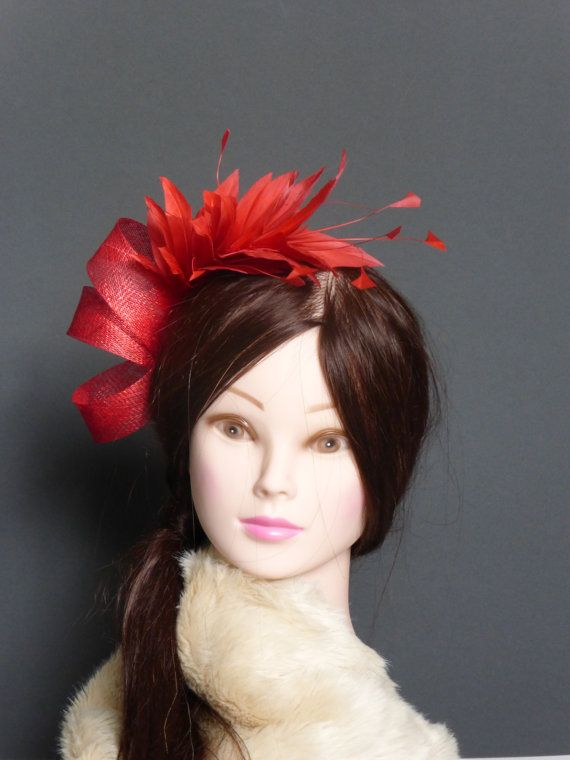 Red Fascinator Hat Sinaymay Twist Feather Prom Bridal Bridesmaid Cocktail Millinery Hairpiece READY TO SHIP