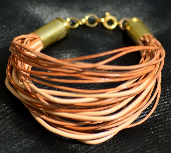 Upcycled Tan and Natural Leather and Bullet by paulastonebuckner, $30.00