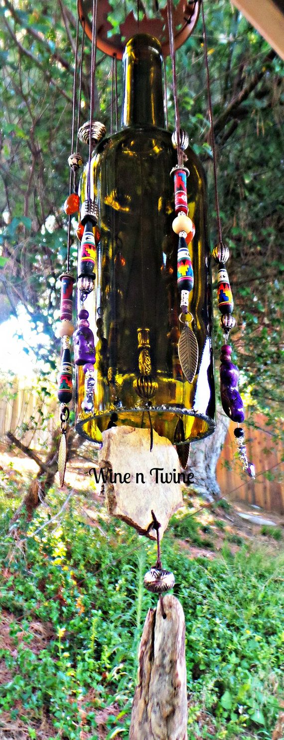 Wine Bottle Wind Chime with Southwestern Beads by WinenTwine