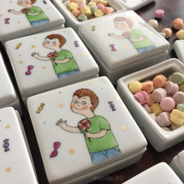 Monila handmade,porcellana,personalizzato,scatolina,bomboniera ,bambino,dipinto a mano