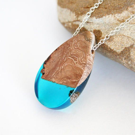 Turquoise Blue Resin & Wood Jewelry Teardrop Pendant Resin