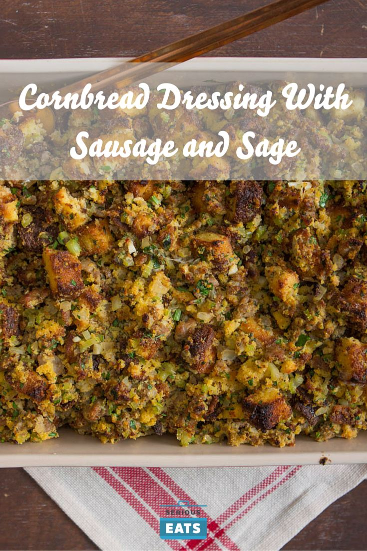 Southern-style cornbread dressing with sausage and sage.