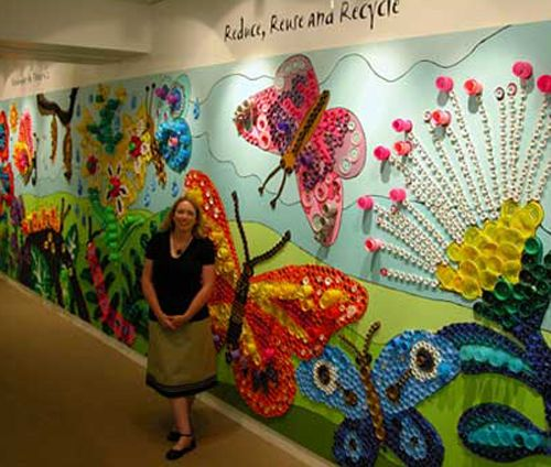Plastic bottle cap mural we 39 re collecting to do this for Bottle top art projects