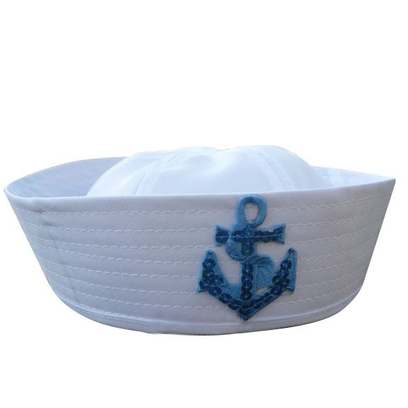 Volwassen wit fancy dress sailor marine doughboy cap hoed kostuum accessoires