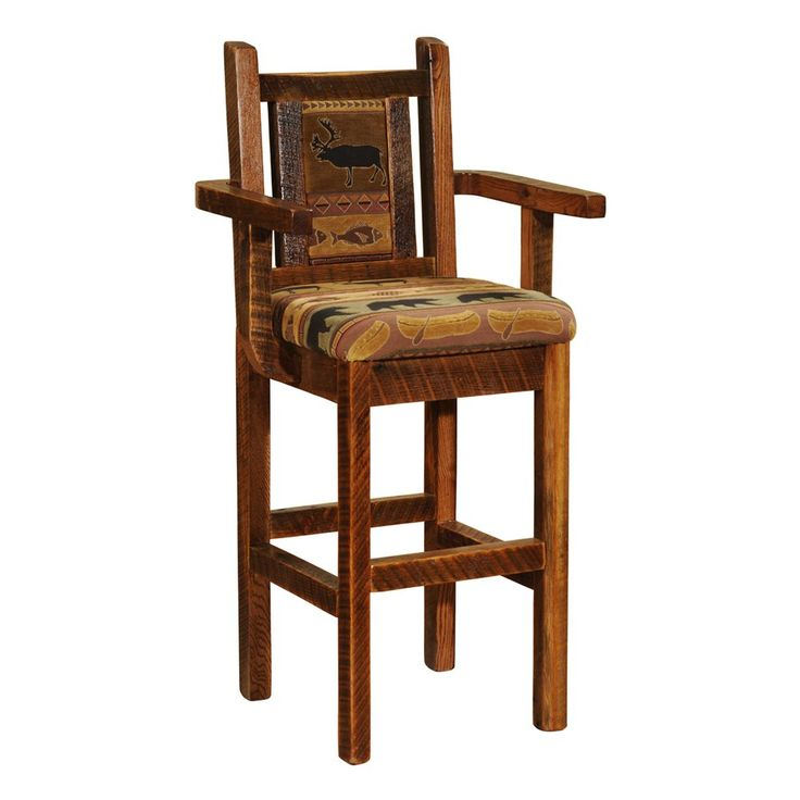 Shop Fireside Lodge Furniture  B1642 Barnwood Artisan Upholstered Bar Stool with Arms at ATG Stores. Browse our bar stools, all with free shipping and best price guaranteed.