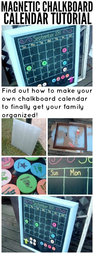 Organize your life with this magnetic chalkboard calendar. It is so easy to make with this craft tutorial.