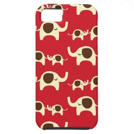 Red good luck kawaii cute nature pattern of elephants animal print elephant iPhone 5 5S case cover. #iphone5s #iphone5scase #elephant #elephants #elephantiphone