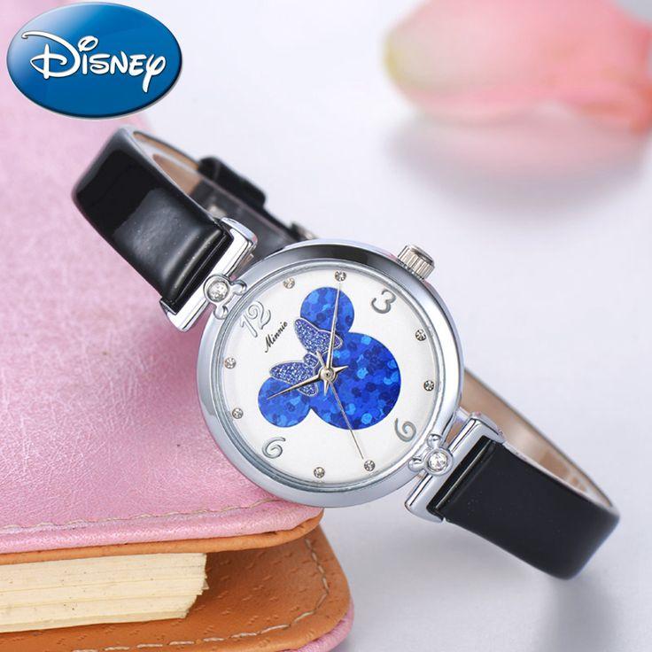 Preety Girl Mickey mouse beautiful charming crystal watch Unique Minnie bowknot fashion casual quartz watch Genuine Disney 11009