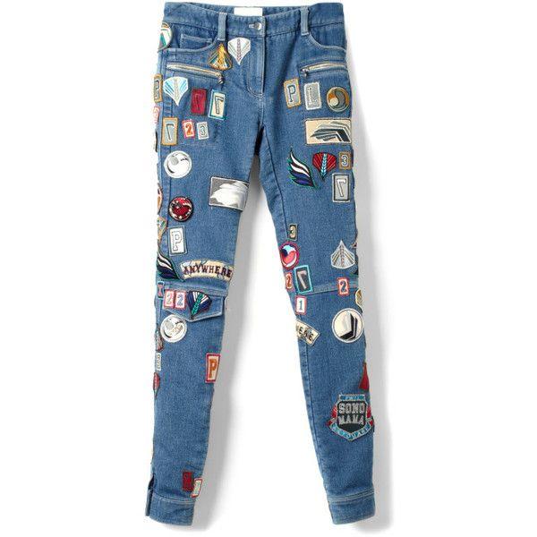 Stretch Denim Skinny Patchwork Cargo Jean (2.815 BRL) ❤ liked on Polyvore featuring jeans, pants, bottoms, denim, blue jeans, skinny jeans, super skinny jeans, blue skinny jeans and 3.1 phillip lim jeans