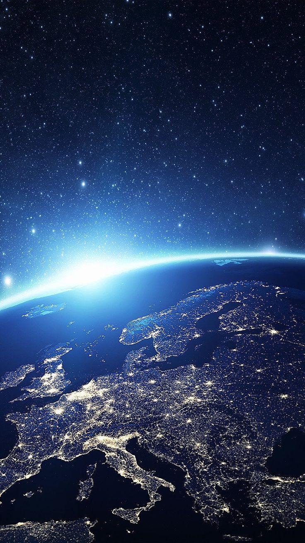 EUROPE EARTH BLUE SPACE NIGHT ART ILLUSTRATION WALLPAPER HD IPHONE