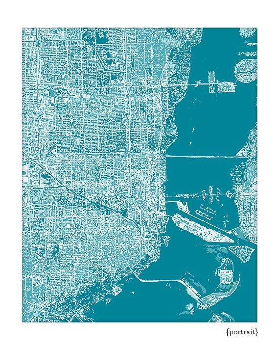 Miami Cityscape Art Print / Florida City Map by jennasuecityscapes