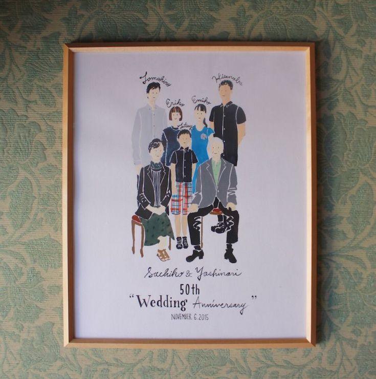 「Portrait of family」家族の肖像結婚記念日やお子様のお誕生の記念、お誕生日、なんでもない日にも家族の肖像をお描きします。結婚式でご両親へ贈るプレゼントとしても大変喜ばれます。ご家族の…