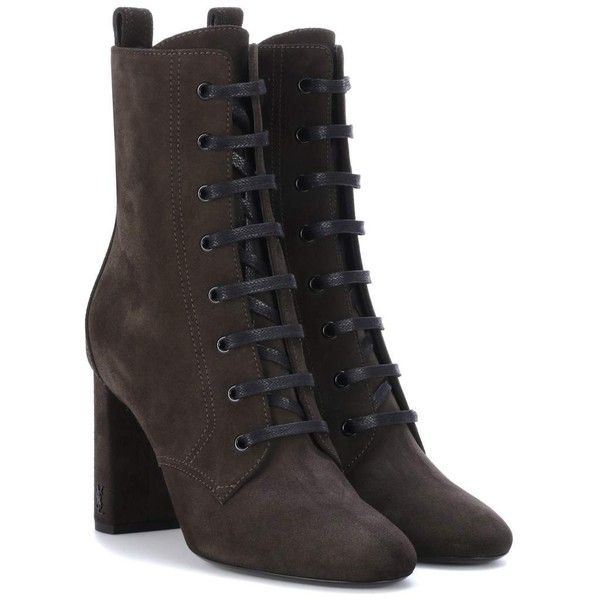 Saint Laurent Suede Ankle Boots ($1,110) ❤ liked on Polyvore featuring shoes, boots, ankle booties, green, ankle boots, bootie boots, suede bootie, suede ankle booties and suede booties