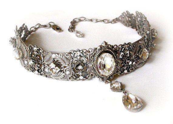 Swarovski  Clear Crystal Choker  - Victorian Gothic Silver Choker Necklace - Bridal Necklace -Victorian Jewelry -Wedding Jewelryhttp://www.etsy.com/listing/111965457/swarovski-clear-crystal-choker-victorian?ref=shop_home_active