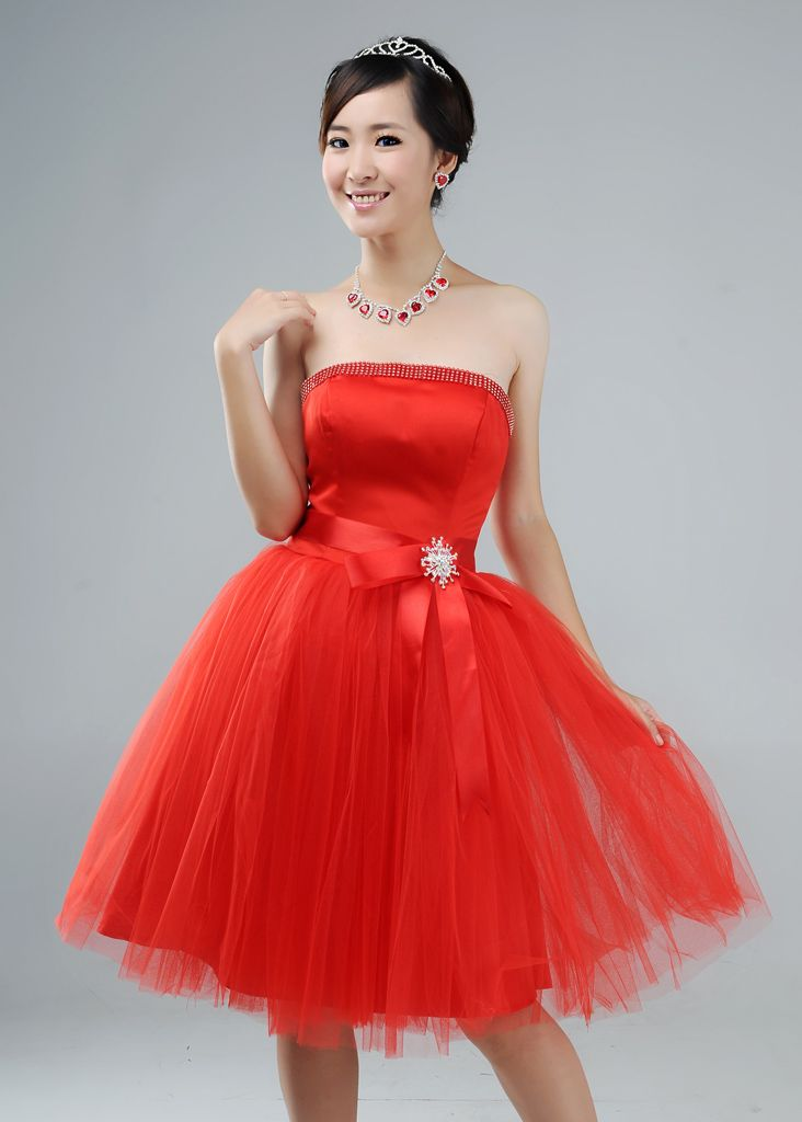Free shipping,women strapless off shoulder strapless patchwork mesh hem bow waist ball gown sweat cocktail dresses