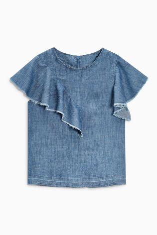 Голубой топ с рюшами из ткани с высоким содержанием лиоцелла Tencel® - Покупайте прямо сейчас на сайте Next: Россия