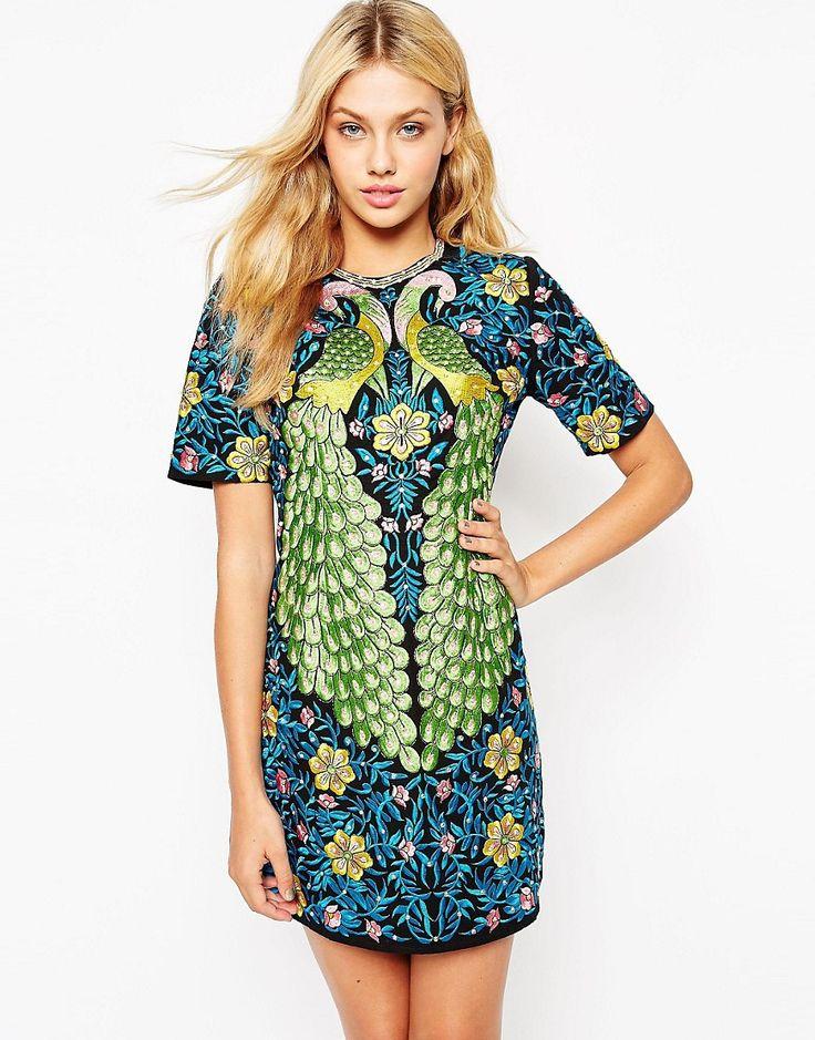 Image 1 ofASOS Peacock Embroidered Shift Dress